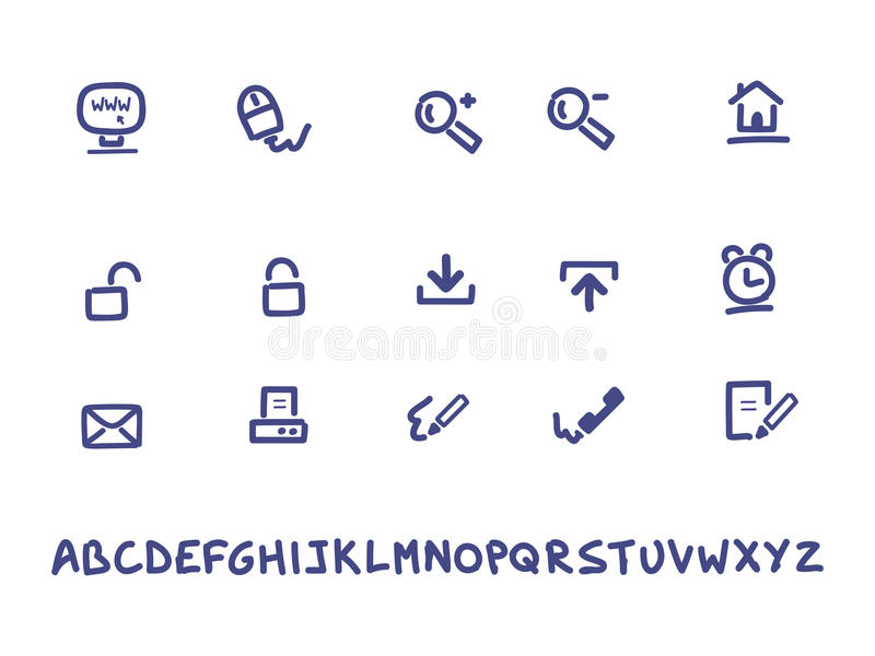 Web And Office Handwritten Icons Stock Photo