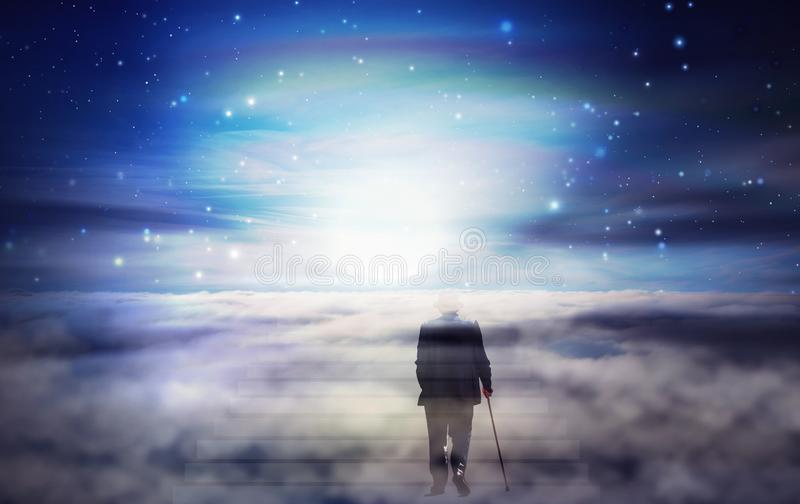 Old man soul journey, Bright light from heaven, Way, path to God stock image