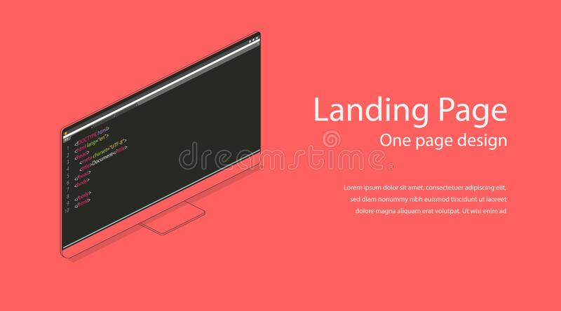 Web one landing page design template. Flat isometric modern monitor illustration. Computer screen 3d concept for infographic stock illustration