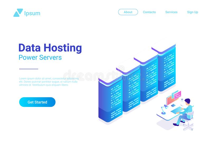 Web Data Hosting Server isometric flat vector. Man vector illustration