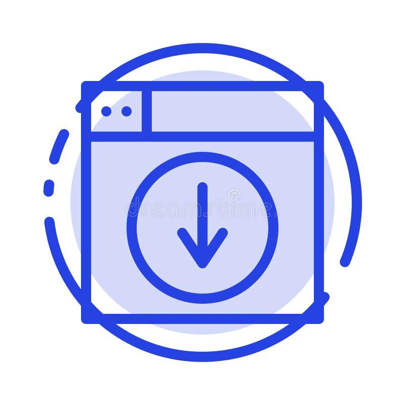Web, Ontwerp, download, onderaan, de Lijnpictogram van de toepassings Blauw Gestippelde Lijn royalty-vrije illustratie