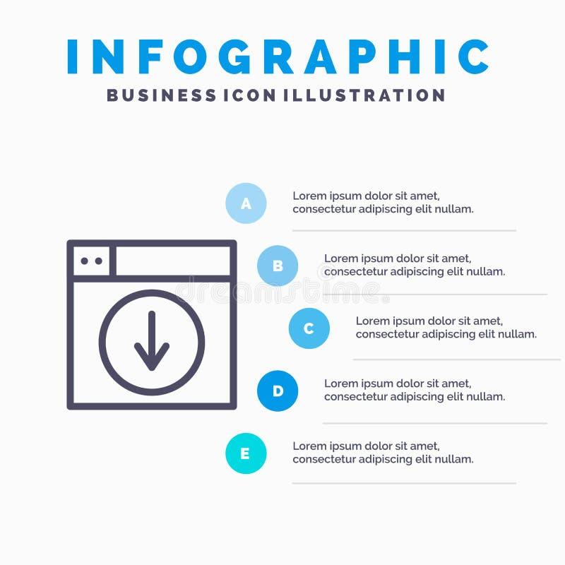 Web, Ontwerp, download, onderaan, het pictogram van de toepassingslijn met infographicsachtergrond van de 5 stappenpresentatie royalty-vrije illustratie