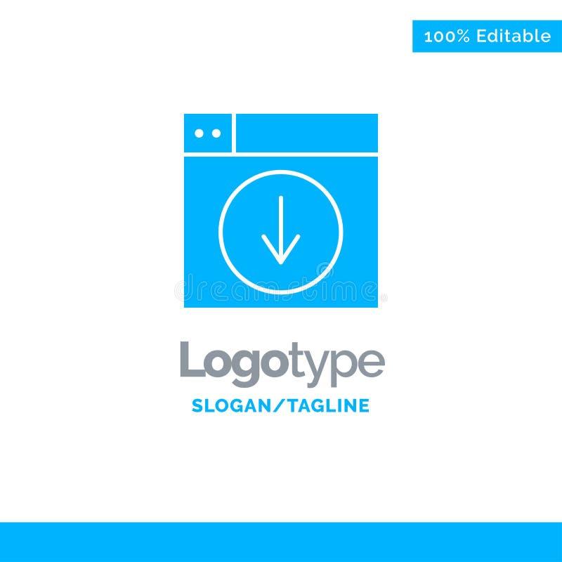 Web, Ontwerp, download, onderaan, toepassing Blauw Stevig Logo Template Plaats voor Tagline royalty-vrije illustratie