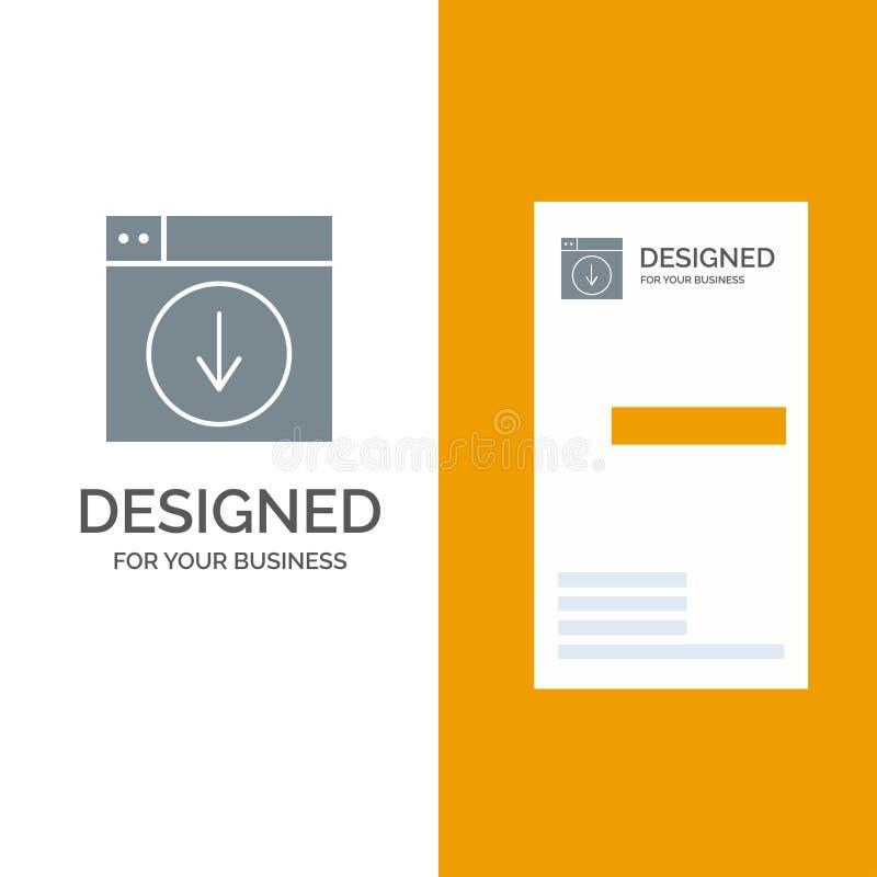 Web, Ontwerp, download, onderaan, toepassing Grey Logo Design en Visitekaartjemalplaatje stock illustratie