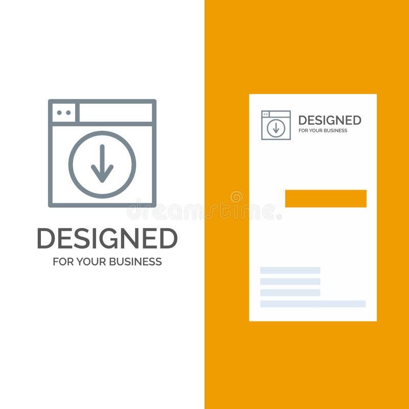 Web, Ontwerp, download, onderaan, toepassing Grey Logo Design en Visitekaartjemalplaatje vector illustratie