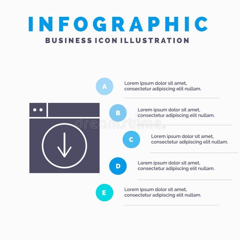 Web, Ontwerp, download, onderaan, toepassings Stevig Pictogram Infographics 5 de Achtergrond van de Stappenpresentatie stock illustratie