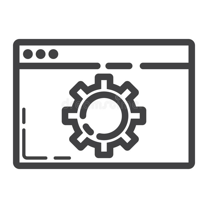 Web optimization line icon, seo and development. Browser sign vector graphics, a linear pattern on a white background, eps 10 royalty free illustration