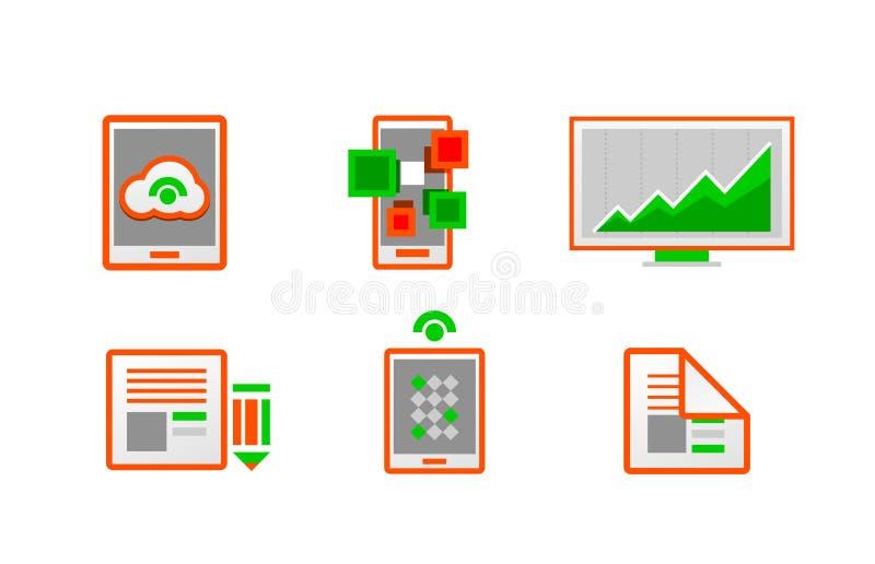 Web Orange Minimal Light Icon Set Royalty Free Stock Photos