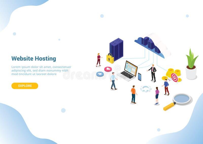 Web ou Web site isométrico que hospedam serviços a empresas para o molde da Web ou do Web site que aterra a bandeira do homepage  ilustração do vetor