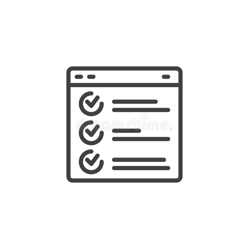 Web page browser report outline icon royalty free illustration