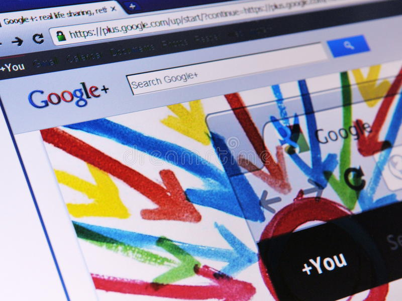 Web page de Google+ foto de archivo libre de regalías