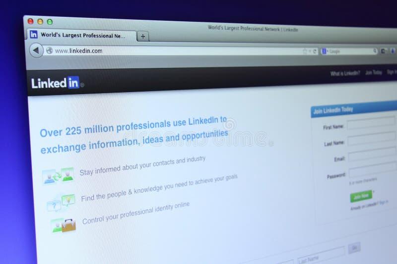 Web page de Linkedin imagem de stock royalty free