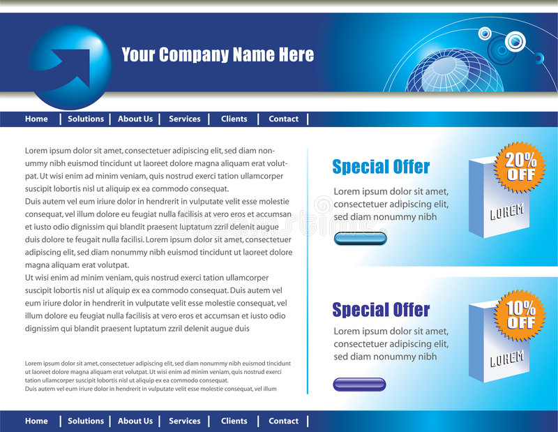 Web page design. A web page design template with sample text