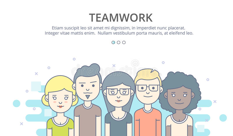 Web page design template of company profile, teamwork, corporate business workflow, career opportunities, team skills royalty free illustration