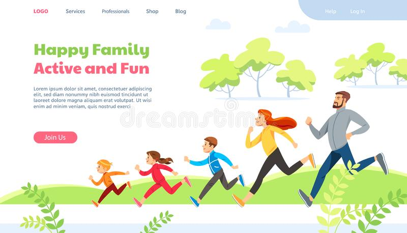 Web page design template for family running activity vector illustration. stock image