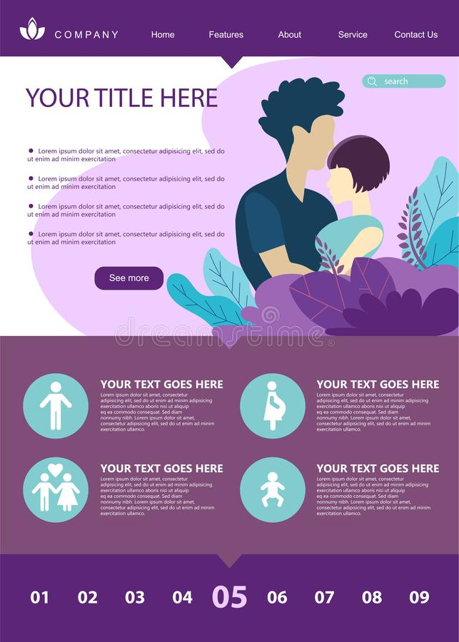 Web page design template for growing family, healthy and safe environment for the family. Modern vector illustration concepts for. Website and mobile stock illustration