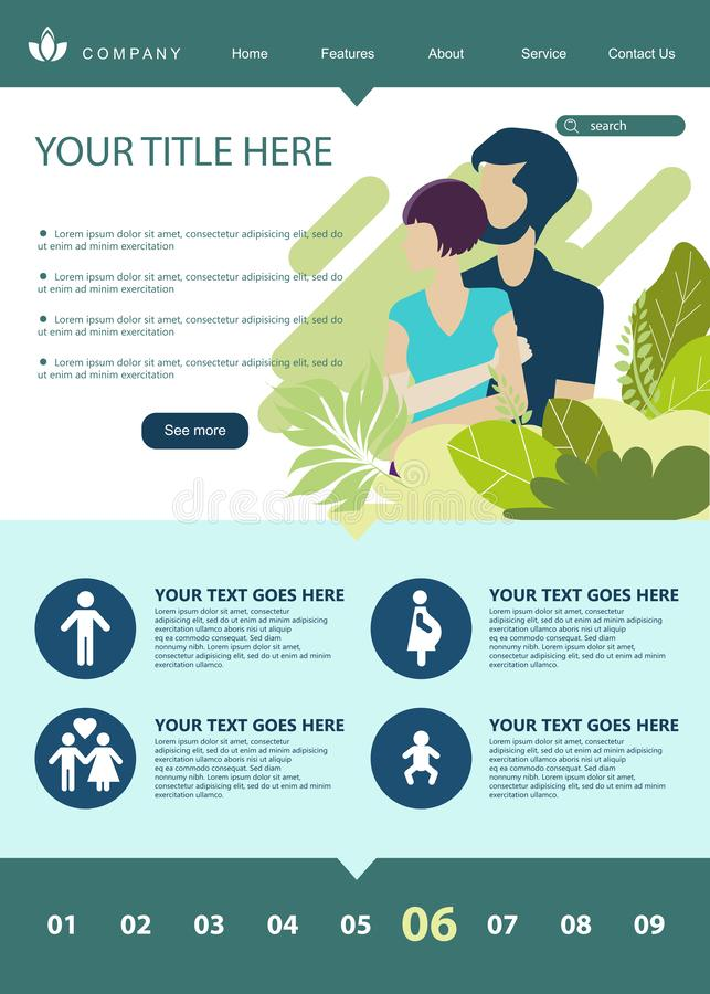Web page design template for growing family, healthy and safe environment for the family. Modern vector illustration concepts for. Website and mobile royalty free illustration