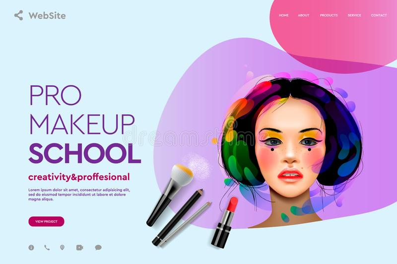 Web page design template for makeup school, course, natural products, cosmetics, body care. Modern design vector royalty free illustration