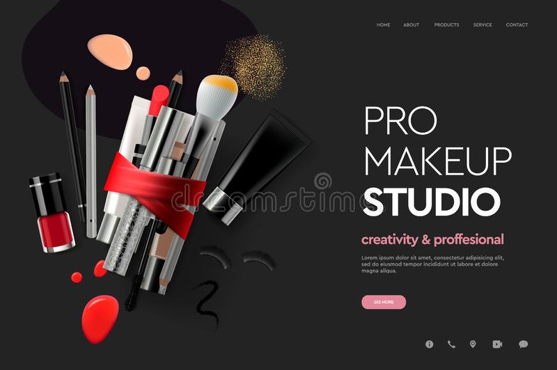 Web page design template for makeup studio, course, natural products, cosmetics, body care. Modern design vector vector illustration
