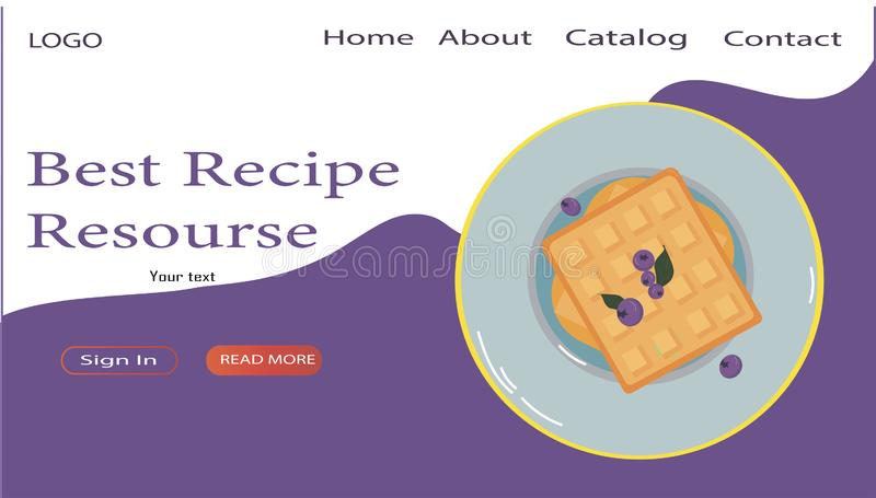 Web page design template for Recipes, Cooking, Vector illustration for poster, banner and website stock illustration