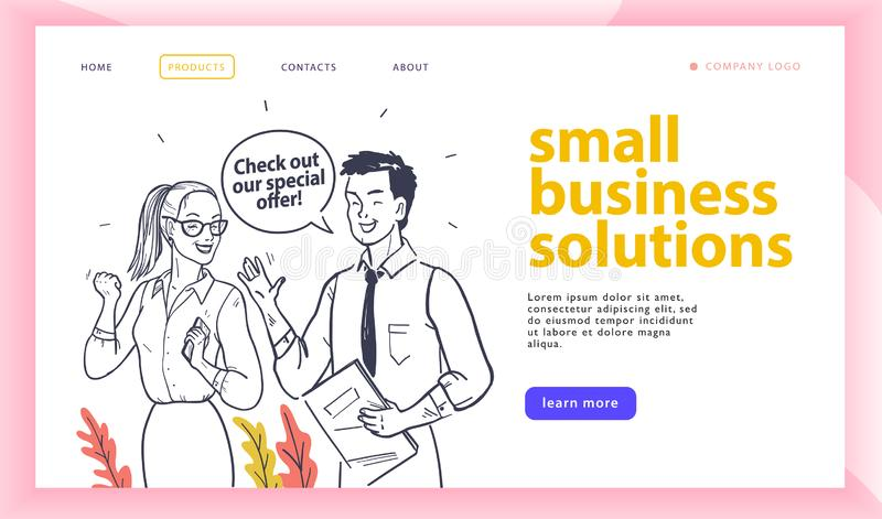 Web page design template with small business solution concep-t and happy office people isolated. vector illustration