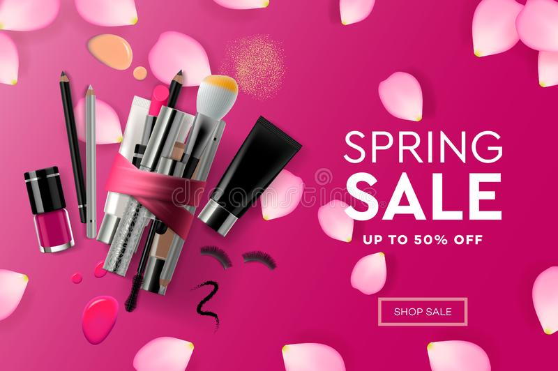 Web page design template for Spring Sale cosmetics, makeup course, natural products, body care. Modern design vector vector illustration