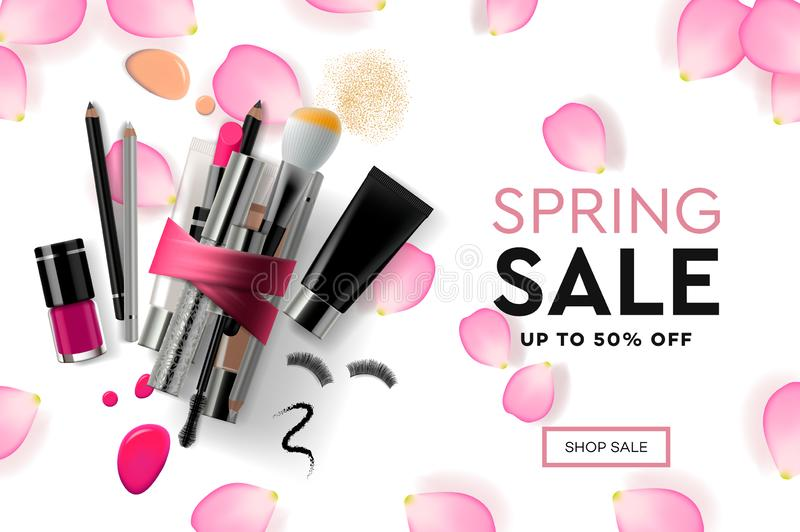 Web page design template for Spring Sale cosmetics, makeup course, natural products, body care. Modern design vector stock illustration