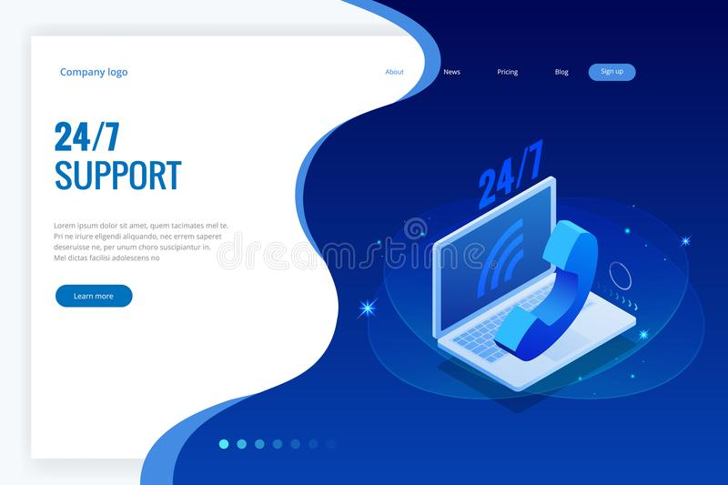 Web page design templates for call center support 24-7. Isometric 24 hours open customer service. Vector illustration. Customer Service, Support or CRM royalty free illustration