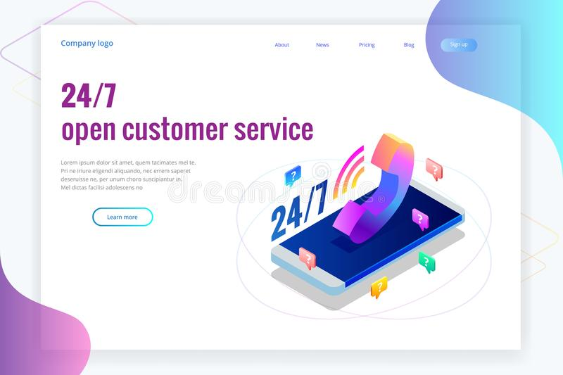 Web page design templates for call center support 24-7. Isometric 24 hours open customer service. Vector illustration. Customer Service, Support or CRM stock illustration