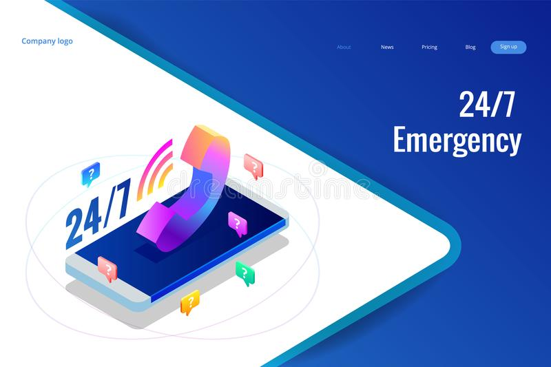 Web page design templates for call center support 24-7. Isometric 24 hours open customer service. Vector illustration. Customer Service, Support or CRM vector illustration