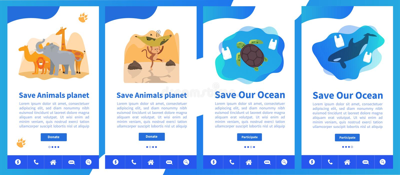 Web page design templates collection of Save Planet or Go green themes. Modern vector illustration concepts for website and mobile website development. Save vector illustration