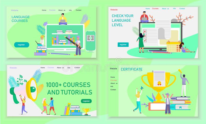 The web page design templates for language courses vector illustration