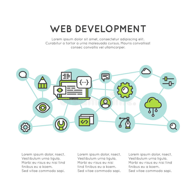 Web Page Development Process stock illustration