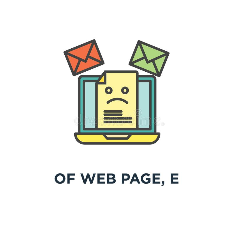 Of web page, e icon, symbol of mail marketing, mailing, news letter advertising, communication, sharing spam, news and information. Promotion, sending email royalty free illustration