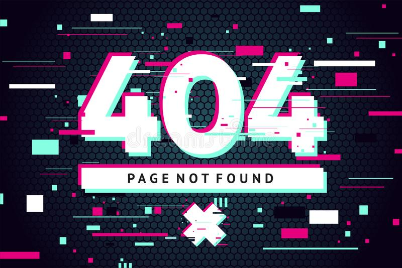 404 web page with error message. Glitch style vector background. Futuristic vector illustration. Banner with glitchy. 404 web page with error message. Glitch stock illustration