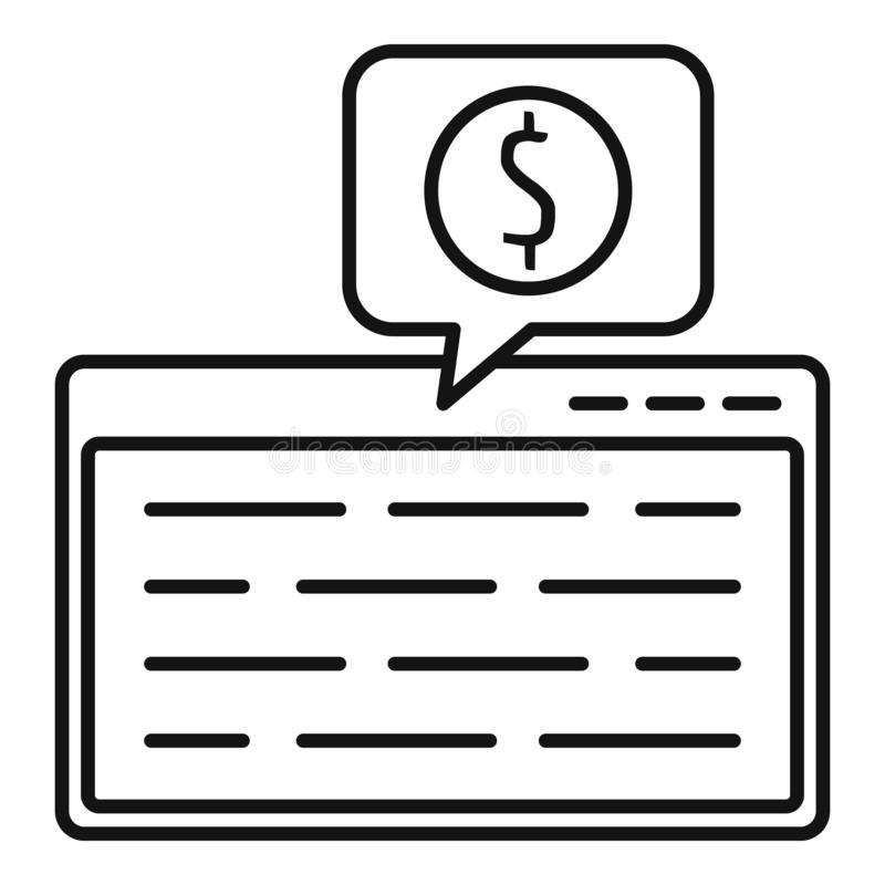 Web page finance icon, outline style stock illustration