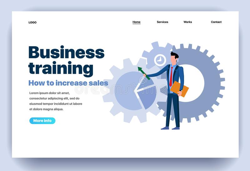 Web page flat design template for business training royalty free illustration