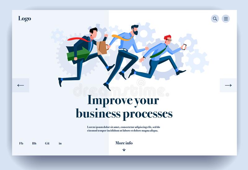 Web page flat design template for improve your business processes vector illustration