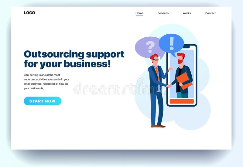 Web page flat design template for outsourcing company vector illustration