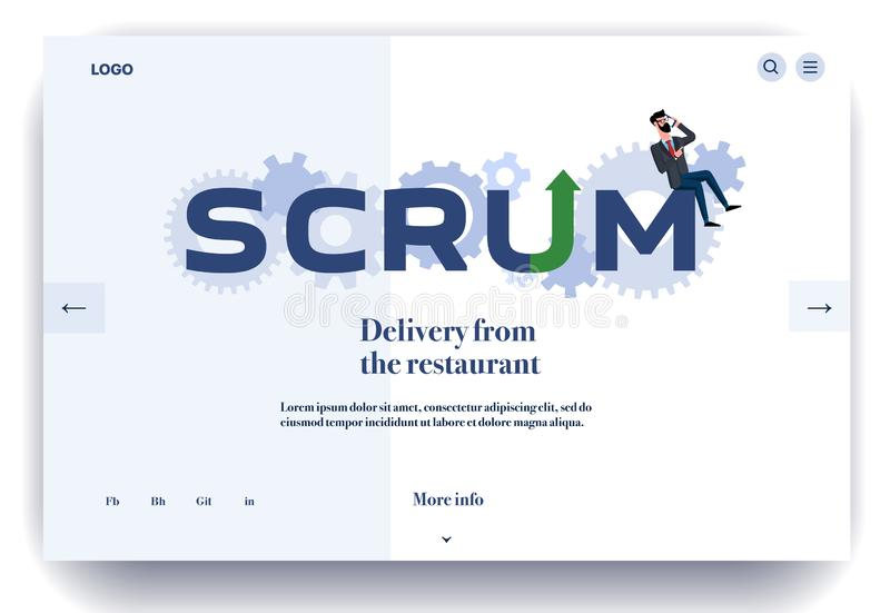 Web page flat design template for scrum master working royalty free illustration