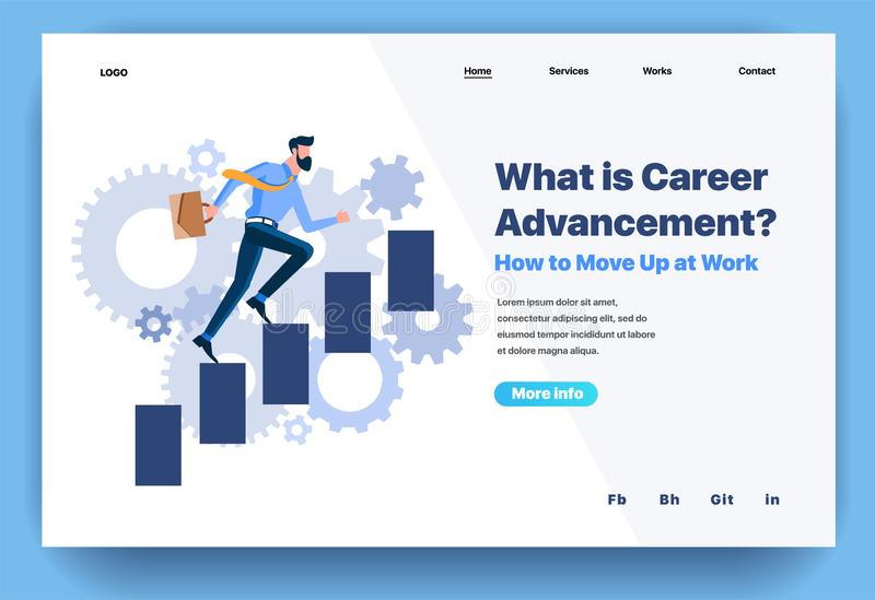 Web page flat design template for what is career advancement. Business landing page online how to move up at work. Modern vector illustration concept for vector illustration
