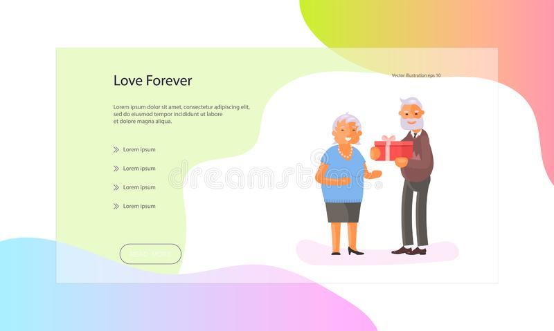 Web page of seniors lifestyle. Web page of healthy active lifestyle retiree for grandparents. Elderly people characters.  Grandparents family Seniors isolated on stock illustration