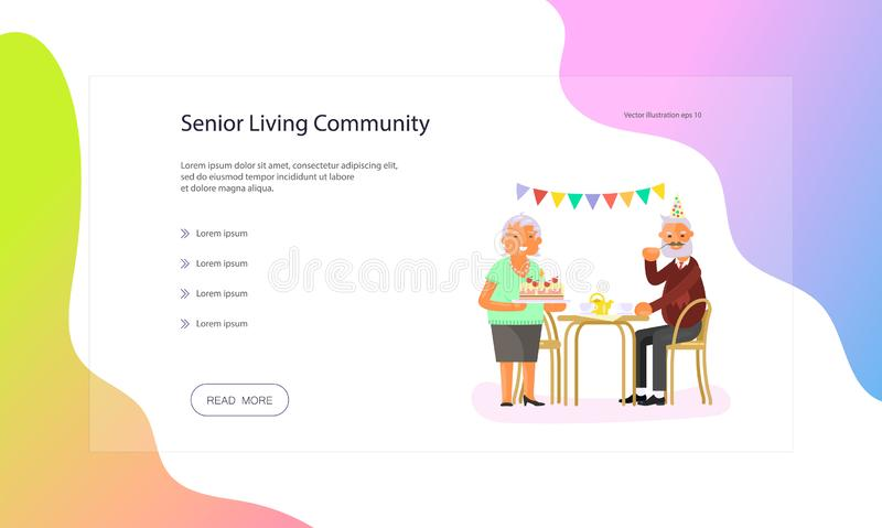 Web page of seniors lifestyle. Web page of healthy active lifestyle retiree for grandparents. Elderly people characters.  Grandparents family Seniors isolated on royalty free illustration
