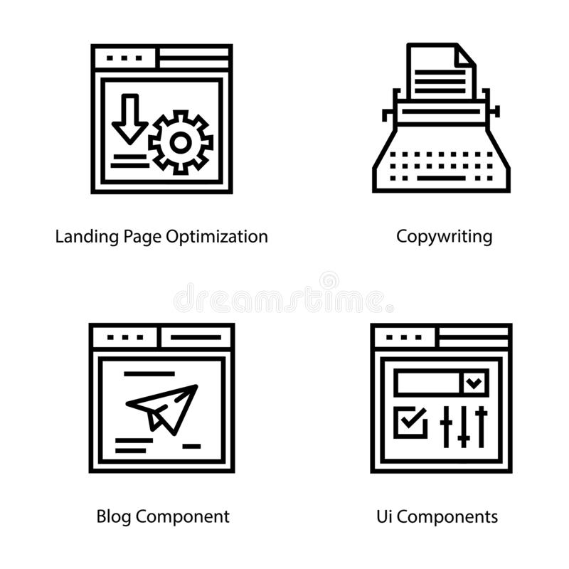 Web Page Interface Line Icons stock illustration