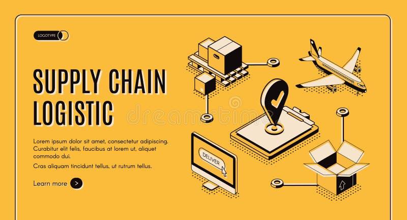 Web page isométrico da cadeia de aprovisionamento da empresa da logística ilustração stock