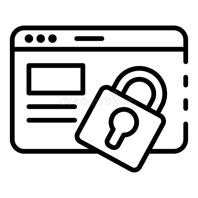 Web page locked icon, outline style stock illustration
