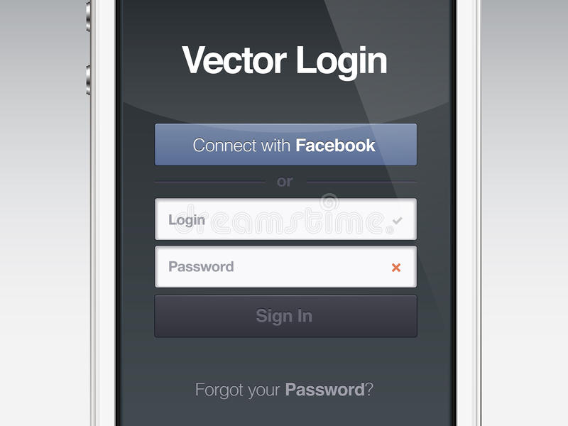 Web page login password security screen royalty free illustration