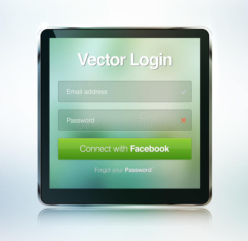 Web page login password security screen stock illustration