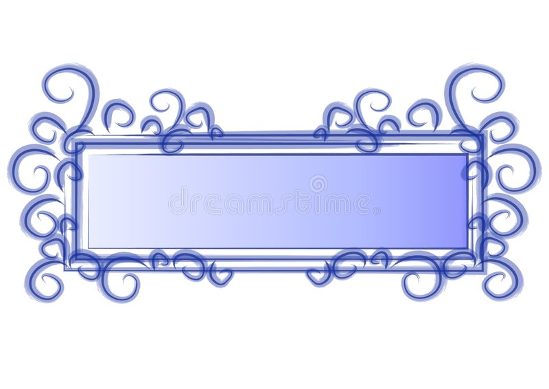 Web Page Logo Blue Swirls. An isolated rectangle and square shaped logo, label, sticker or decorative template element in blue and white colors and abstract vector illustration
