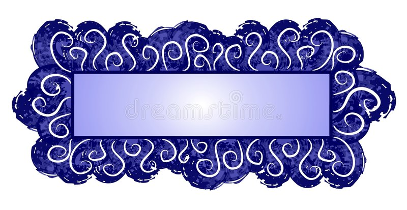 Web Page Logo Dark Blue Swirls. An isolated rectangle and square shaped logo, label, sticker or decorative template element in dark blue colors and abstract stock illustration